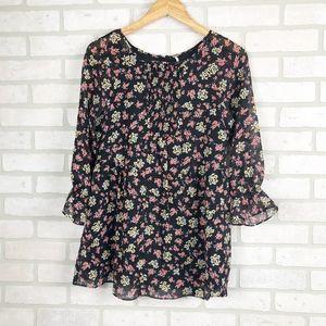 Free People Chiffon Ditsy Floral tunic Size 0